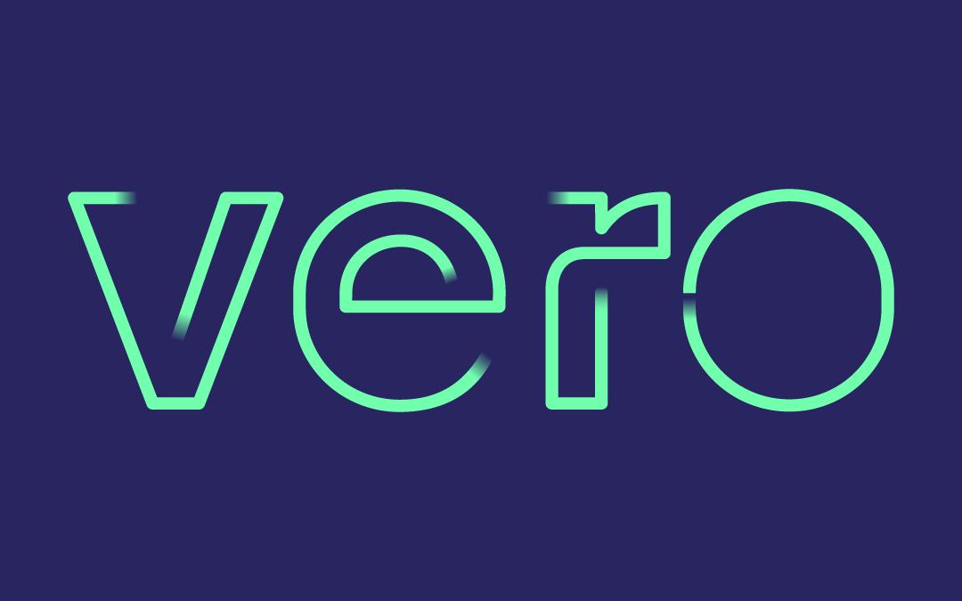 Vero Green Logo Blue Background
